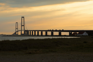 Storebæltsbroen bridge during sunset
