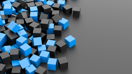 Black and blue cubes background. 3D Rendering.