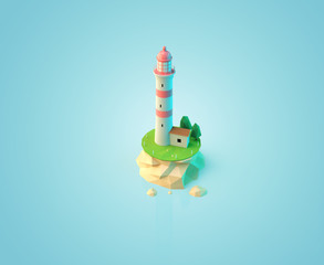 Lighthouse low polygon style