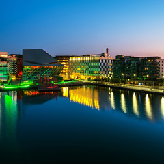 Dublin, Ireland. Aerial view of Grand Canal at sunrise