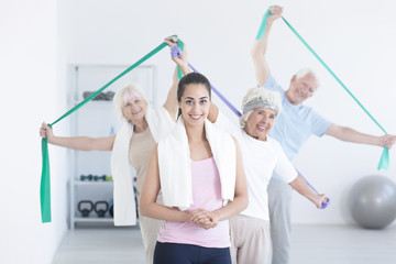 Active elderly people stretching