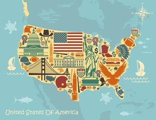 Stylized map of USA with traditional symbols