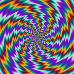 Fototapeta Pulsing fiery spirals. Spin illusion. obraz