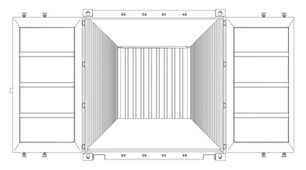 Open Empty Cargo Container. Wire-frame style