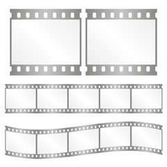 Vector silver film strips - waveform and straight strip. Insulated windows - you can create variable long straight filmstrip. Eps 10 vector file.