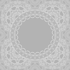 White lace pattern with a space for the text. Abstract geometric background. Vector illustrationBeautiful lace background