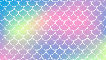 Mermaid scale on trendy gradient background. Horizontal backdrop with mermaid scale ornament. Bright color transitions. Fish tail banner and invitation. Underwater sea pattern. Rainbow colors.
