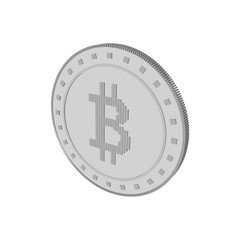 Cryptocurrency bitcoin. Isolated on white background. 3d Vector illustration.