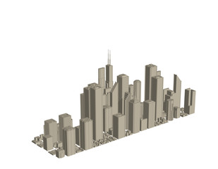 3D model of city. Isolated on white background. Vector illustration.
