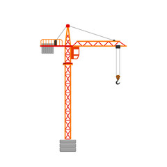 Tower crane. Isolated on white background. Vector illustration.
