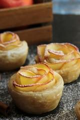 Apple Rose puff pastry Tart / Fall baking, selective focus