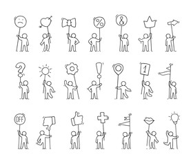 Cartoon icons set of sketch little people with life symbols.