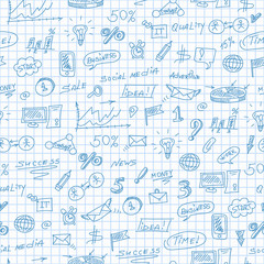 Seamless pattern on the theme of business , simple contour icons, blue  contour  icons on the clean writing-book sheet in a cage