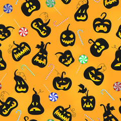 Seamless pattern on the theme of Halloween, pumpkins with faces and sweets on a orange background