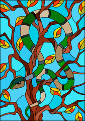 Illustration in the style of stained glass with colorful snake on the tree on blue background