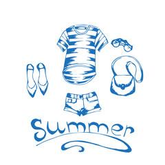 sketch fashionable clothes. T-shirt, shorts, shoes, glasses, bag. Inscription Summer.