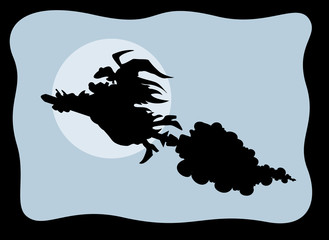 fat Witch Flying on Broomstick in Moonlight