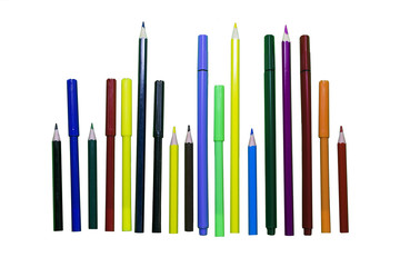 Colored pencils and markers on a white isolated background.