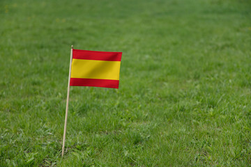 Spain flag. Spanish flag on a green grass field lawn background. National flag of Spain Espana waving outdoors