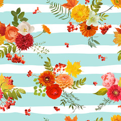 Autumn Nture Seamless Pattern. Floral Background with Maple Leaves and Flowers in Vector