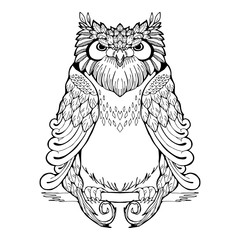 owl tribal tattoo with white isolated background