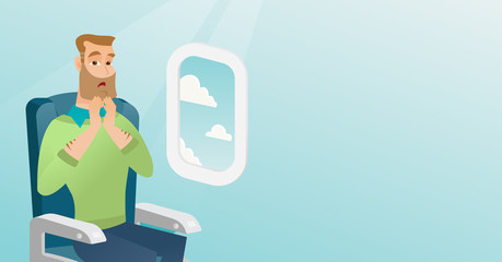 Young caucasian man shocked by plane flight in the turbulent area. Frightened airplane passenger sitting in airplane seat and suffering from aerophobia. Vector cartoon illustration. Horizontal layout.