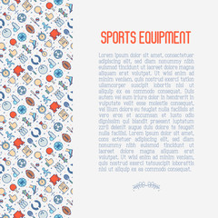 Sport equipment concept with thin line sport and winning games icons. Vector illustration for banner, web page, print media.