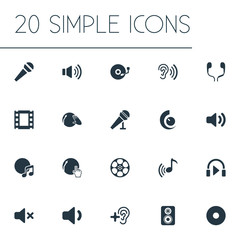 Vector Illustration Set Of Simple Sound Icons. Elements Partymaker, Mike, Tape And Other Synonyms Earmuff, Headphone And Disco.