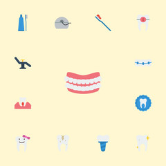 Flat Icons Tooth Seal, Toothbrush, Hygiene And Other Vector Elements. Set Of Tooth Flat Icons Symbols Also Includes Toothbrush, Children, Health Objects.