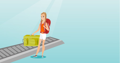 Happy caucasian passenger picking up suitcase from luggage conveyor belt at the airport. Young cheerful passenger taking her luggage from conveyor belt. Vector cartoon illustration. Horizontal layout.