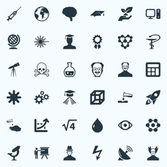 Vector Illustration Set Of Simple Study Icons. Elements Teacher, Square, Setting And Other Synonyms Atom, Reckoning And Spaceship.