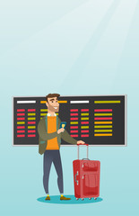 Young caucasian airplane passenger waiting for a flight at the airport and holding passport. Hipster man standing at airport with suitcase and passport. Vector cartoon illustration. Vertical layout.