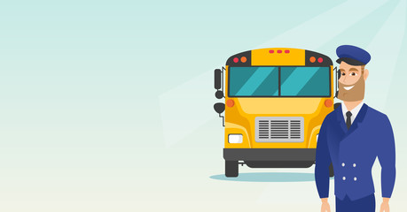Caucasian cheerful school bus driver standing on the background of yellow bus. Smiling hipster school bus driver in uniform. Cheerful school bus driver. Vector cartoon illustration. Horizontal layout.