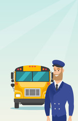 Caucasian cheerful school bus driver standing on the background of yellow bus. Smiling hipster school bus driver in uniform. Cheerful school bus driver. Vector cartoon illustration. Vertical layout.