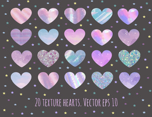 set of 20 glitter,marble and holographic hearts