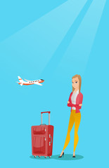 Young caucasian airplane passenger frightened by future flight. Woman suffering from fear of flying. Scared passenger with suitcase waiting for a flight. Vector cartoon illustration. Vertical layout.