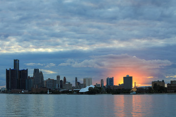 Detroit Skyline from Belle Isle at sunset