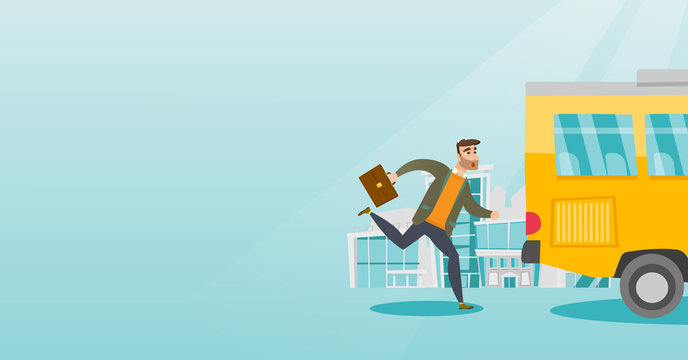Young hipster businessman with beard chasing a bus. Caucasian businessman running for an outgoing bus. Latecomer businessman running to reach a bus. Vector cartoon illustration. Horizontal layout.
