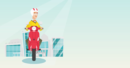 Young caucasian man riding a scooter on a city background. Cheerful man in helmet driving a scooter in the city street. Smiling man driving a scooter. Vector cartoon illustration. Horizontal layout.