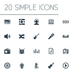 Vector Illustration Set Of Simple  Icons. Elements Laptop, Guitar, Playboy And Other Synonyms Violin, Musical And Shuffle.