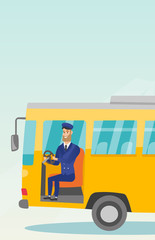 Young caucasian bus driver sitting at steering wheel. Hipster bus driver with beard driving a passenger bus. Smiling bus driver sitting in the driver cab. Vector cartoon illustration. Vertical layout.