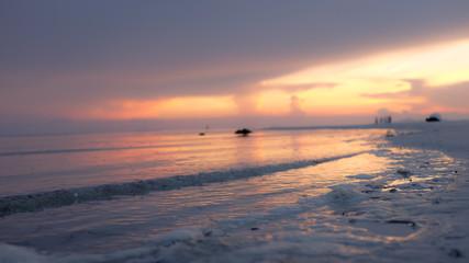 Dusk scene of the sea at the beach