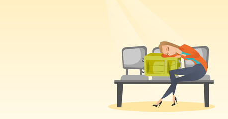 Tired caucasian passenger sleeping on suitcase at the airport. Young exhausted woman waiting for a flight and sleeping on a suitcase at the airport. Vector cartoon illustration. Horizontal layout.