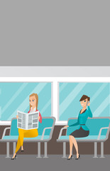 Caucasian women traveling by public transport. Woman using mobile phone while traveling by public transport. Woman reading newspaper in public transport. Vector cartoon illustration. Vertical layout.