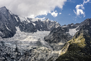 Dora di Veny, River, Monte Bianco, Clouds, Courmayer; Valdaosta; Italy; Europa