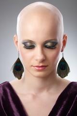 Studio portrait of bald woman