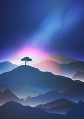 Starry Night in the Mountains with a Lone Tree - Vector Illustration.