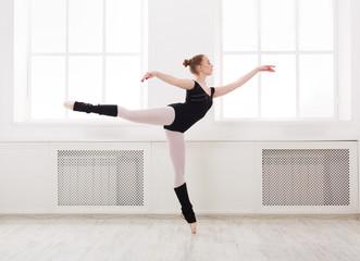 Beautiful ballerina stands in ballet arabesque
