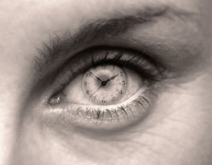Close up of female eye with clock face