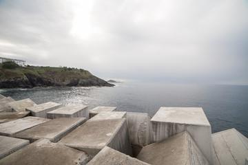 Concrete cubes creating breakwater